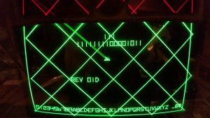 Battlezone test mode showing retrace lines.